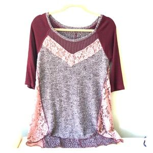 Free people knit and lace top
